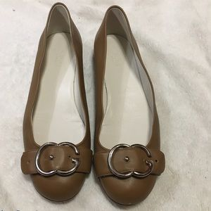 Gucci Leather Brown Sachalin Buckle Ballet Flats